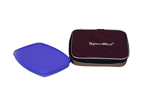 Signoraware Slim Lunch Box with Bag, 610ml, Violet