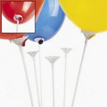 Fun Express Premium Quality White Balloon Sticks with White Cups (Package of 144)