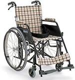 アルミ軽量自走用車椅子KL22-40B(介助ブレーキ付車椅子)/ブラウンチェック