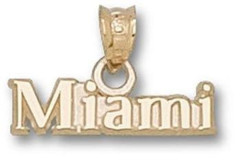 Miami Hurricanes Miami Pendant - 14KT Gold Jewelry by Logo Art