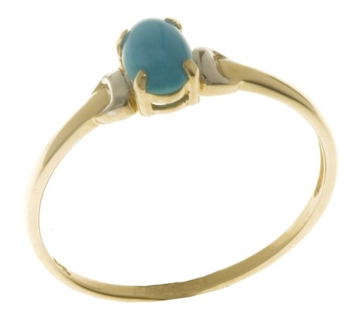 9ct Yellow and White Gold Ladies Turquoise Birth Stone Ring