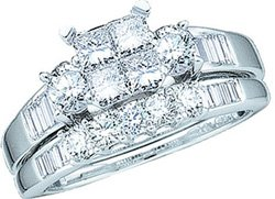 10k White Gold Quad-Princess Diamond Womens Ladies