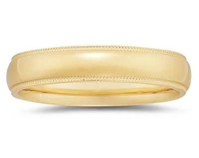 5mm Milgrain Edge Comfort-Fit Women's Wedding Band in 18k Gold