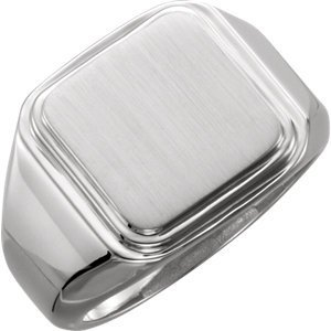 Sterling Silver Posh Mommy Men's Square Signet Ring