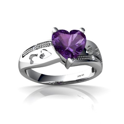 Jewels For Me 14K White Gold Heart Genuine Amethyst Ring Size H