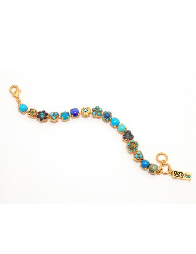 'Inspiration' Collection 24 K Yellow Gold Plated Fabulous Bracelet by Amaro Jewelry Studio Decorated with Flower and Heart Elements, Sodalite, Amazonite, Chrysocolla, Turquoise, Lapis, Swarovski Crystals