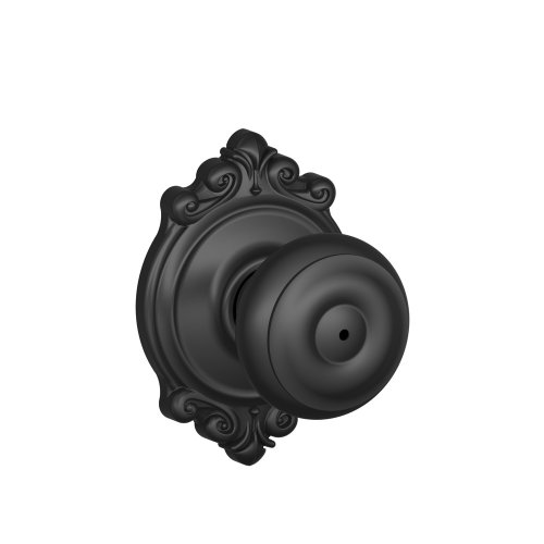 Schlage F40 GEO 622 BRK Brookshire Collection Georgian Privacy Knob, Matte Black (Black Privacy Door Knob compare prices)