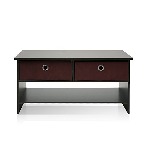 Furinno 10003EX/BR Espresso Finish Living Set, Center Coffee Table with 4 Bin-Type Drawers (Espresso Living Room Set compare prices)