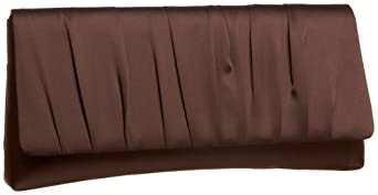 La Regale Large Gathered Satin Clutch,Brown,one size
