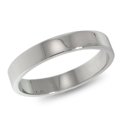 10K White Gold, Flat Wedding Band 3MM (sz 14.5)