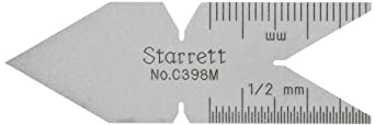Starrett C398M Metric Standard 60 Degree Center Gauge, Satin Chrome Finish
