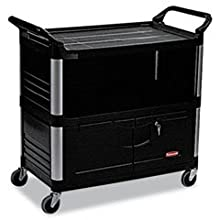 Rubbermaid Commercial 4095 HDPE Service Cart with Ends, 2 Shelves, 300-Pound Capacity, Black