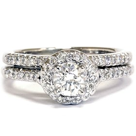 .75CT Diamond Halo Wedding Ring Set 14K White