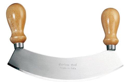 Eppicotispai Stainless Steel Mezzaluna Chopper/Mincer With Wooden Handle, 10-Inch