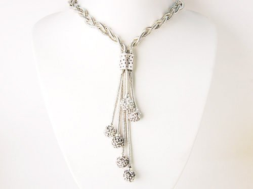Fancy Twist Braid Rope Dangle Tassel Metal Fashion Jewelry Accessories Necklace