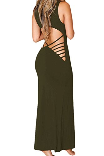 Chase Secret Womens Sleeveless Strappy Back Long Dress Small Olive Green