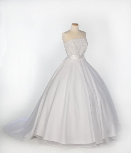 White Organza and Lace Strapless Wedding Gown