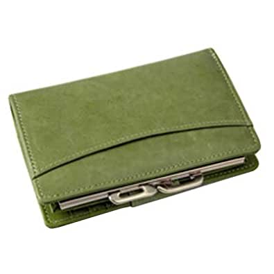 Budd Leather Distressed Leather Framed French Purse - Green