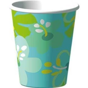 Blue Hibiscus Luau Party Cups - 16 Oz Tropical Paper Cups - 8 Count