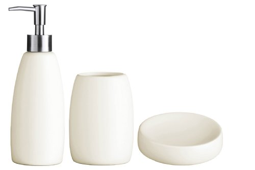 Premier Housewares Stoneware Bathroom Set, Natural, 3-Piece