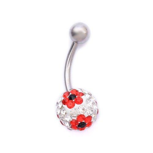 K Mega Jewelry Navel Belly Button Bar Ring Flower Pattern Ferido Body Jewelry Piercing