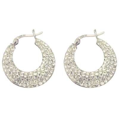 New Fashion Jewelry Earrings with Crystal clear CZ Studded Circle Heavy Hoop Design(WoW !With Purchase Over $50 Receive A Marcrame Bracelet Free)