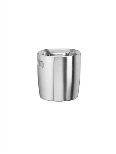 Kraftware Brushed Stainless Steel 1-1/2-Quart Doublewall Insulated Ice Bucket With Indented Hand Grips