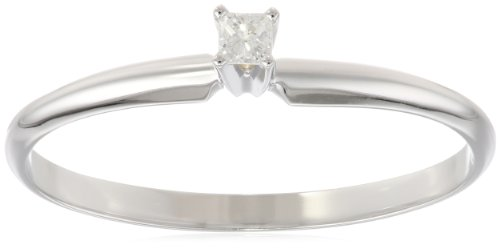 14k White Gold Princess-Cut Solitaire Engagement Ring (0.05 cttw, I-J Color, I1-I2 Clarity), Size 5