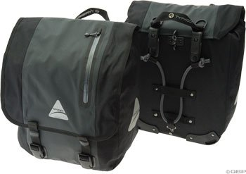 Axiom Monsoon Pro Tour Waterproof Pannier Set: Gray/Black
