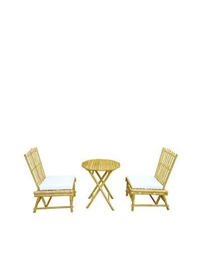 ZEW, Inc. Beach Bamboo Chair & Table Set, Natural