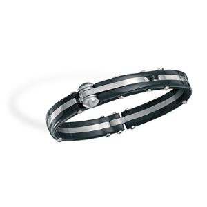 Mens Bracelet Polished 316L Stainless Steel Black Two-Tone Hypoallergenic