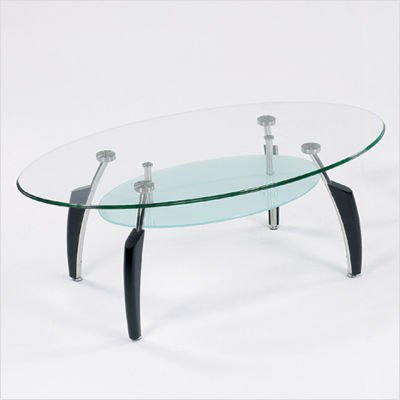 Global Furniture USA Francis Black Round Coffee Table with Frosted Glass Top