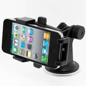 Gmatrix One Touch Windshield Universal Car Mount Holder for iPhone 4S/5, Galaxy S4/S3/S2, HTC One DROID RAZR HD - Retail Packaging - Red