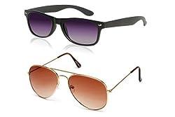 MagJons Black Wayfarer And Yellow Mirror Sunglasses Combo With Box