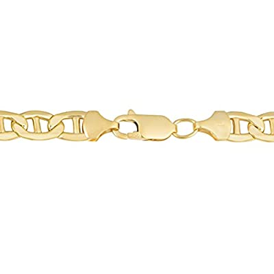 10 Karat Yellow Gold 6.7mm High Polish Men's Mariner Link Bracelet (9 inch)