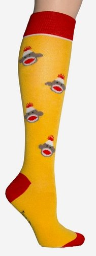 Foot Traffic Women's Sock Monkey Knee High Socks (Yellow)