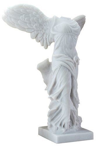 12.25 Inch Marble Painted Cold Cast Resin Nike of Samothrace Statue