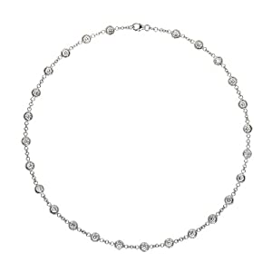 18k White 2.6mm Diamonds By The Inch - 16 Inch Necklace - JewelryWeb