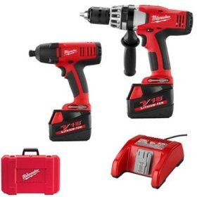 Milwaukee 0824-24P V18 Lithium Ion Cordless Hammer Drill With Bonus 18V Impact Driver Plus BONUS Milwaukee 48-32-0321 21-Piece Universal Quik-Lok Drill/Drive Set a $29 Value!