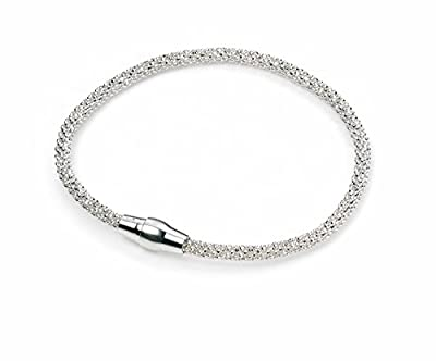 Elements Sterling Silver, Ladies, B4222, Diamond Bead Chain Bracelet of Length 19cm