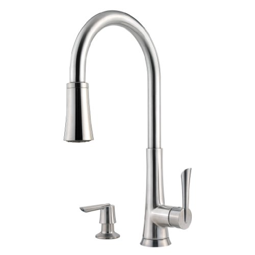 Pfister GT529-MDS Mystique Single Handle 1, 2, 3, or 4-Hole Pull-Down Lead Free Kitchen Faucet with Soap Dispenser, Stainless Steel