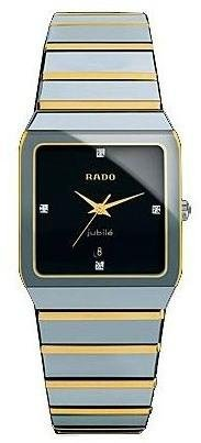 Rado Men's R10366761 Platinum Analog Black Dial Watch