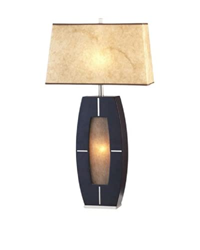 Nova Lighting Delacy 2-Light Table Lamp, Dark Brown/Brushed Nickel