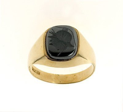 J R Jewellery 421970 Men's 9ct Gold Intaglio Cushion Ring Made In Jewellery Quarter B'ham.