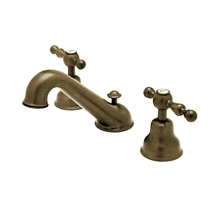 Rohl AC102LM-TCB-2 Cisal Widespread Bathroom Faucet with Classic Metal Lever Handles, Tuscan Brass