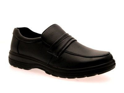 MENS COMFORT LEATHER LINED FLEXIBLE SOLE SHOES BLACK SLIP ON WITH STRAP SIZE 8