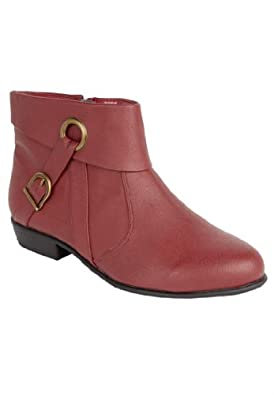 Comfortview Women's Plus Size Terri Leather Bootie Signature Sole Red,7 M