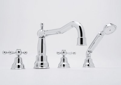 Rohl AC262LP-PN CISAL ARCANA FOUR HOLE DECK MOUNTED ROMAN BATHTUB FILLER SET WITH COLUMN SPOUT AND HANDSHOWER IN POLISHED NICKEL WITH WHITE RESIN LEVER HANDLES AND 3/4^ CIS DK CLM HS TUB FLR PRC P.NK