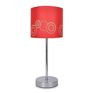 Modern Silver Chrome Touch Table Lamp with a Laser Cut Pattern Red Shade from MiniSun