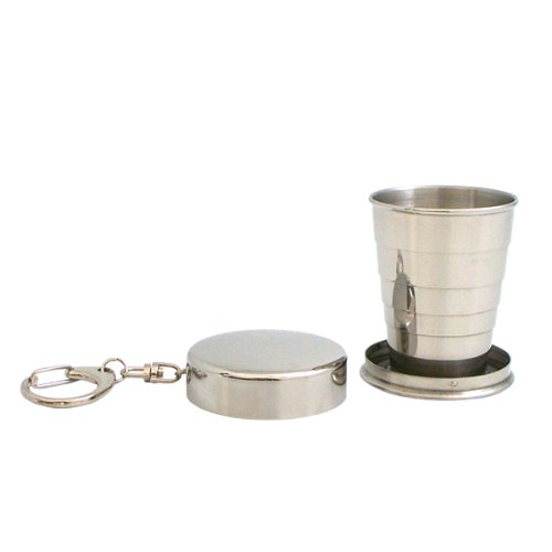 Tarnish Proof Stainless Steel Collapsible Cup on Key Ring, 3-Pack metal keyboard ylgf ps 2 super mini embedded industrial key waterproof ip65 dust anti violence stainless steel ring